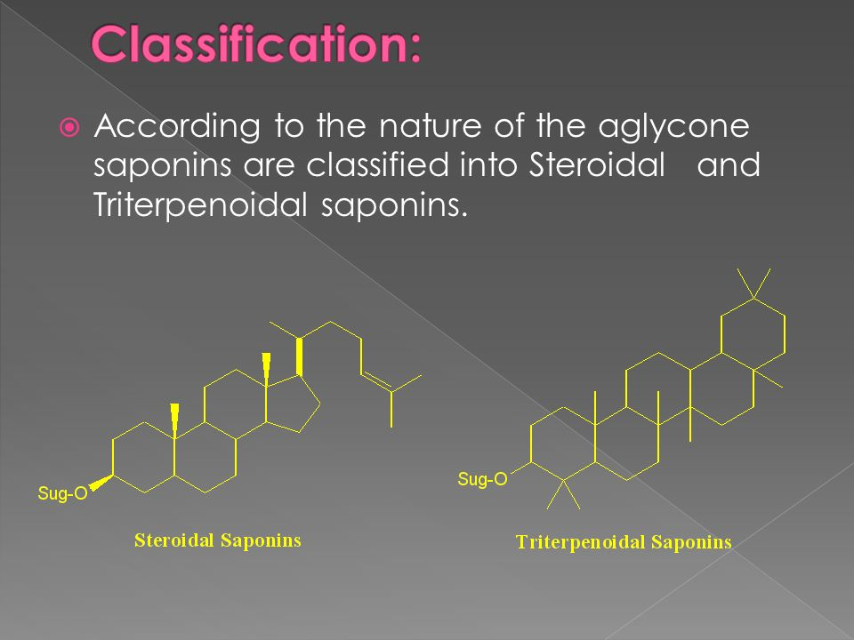 Classification: According to the nature of the aglycone saponins are classified into Steroidal and Triterpenoidal saponins.