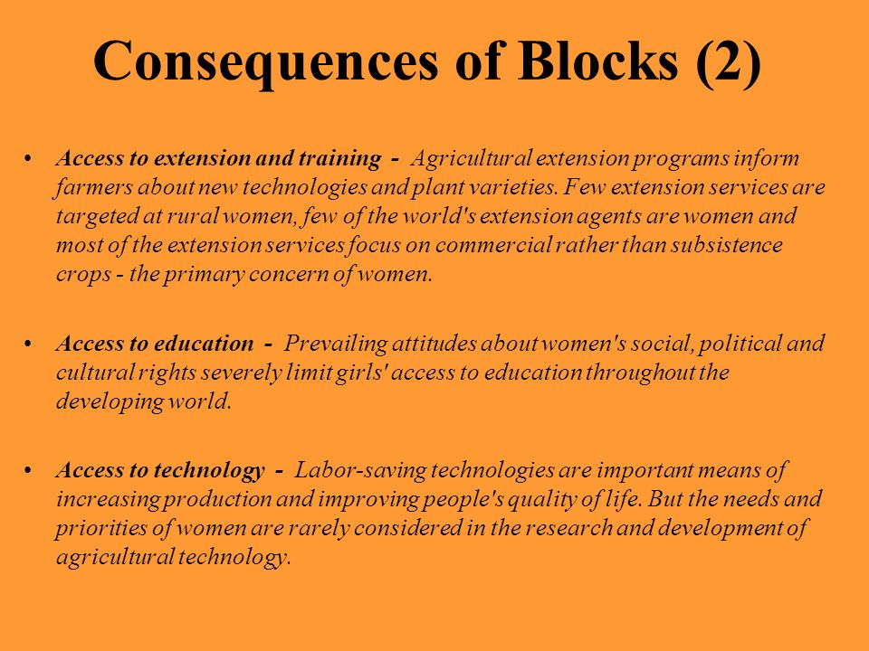Consequences of Blocks (2)