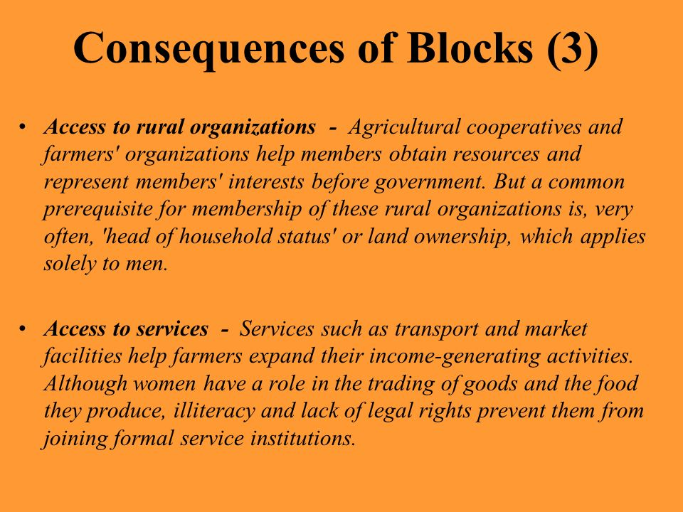 Consequences of Blocks (3)