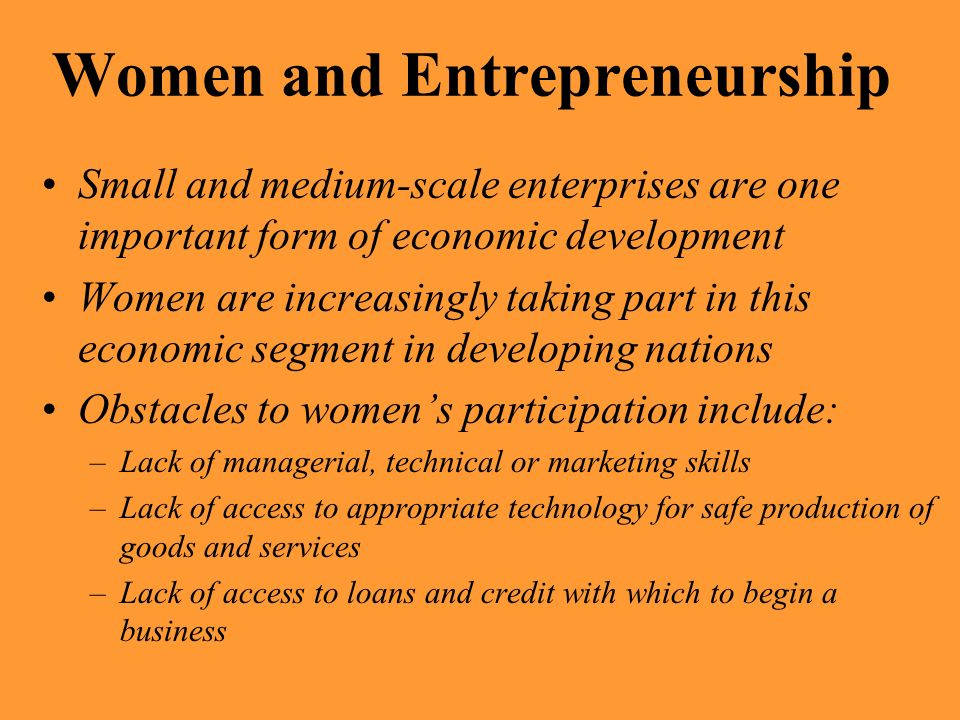 Women and Entrepreneurship
