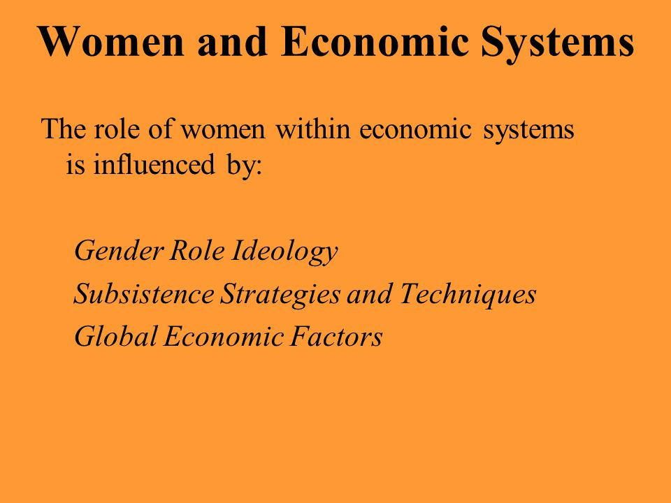 Women and Economic Systems