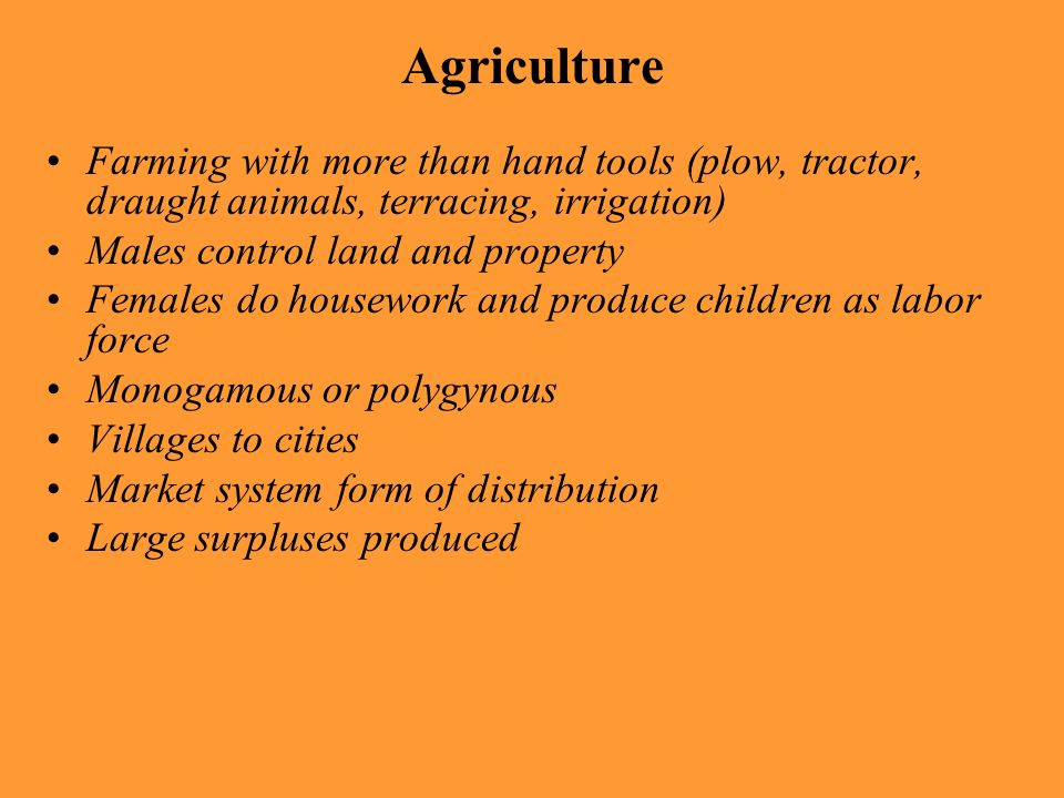 Agriculture Farming with more than hand tools (plow, tractor, draught animals, terracing, irrigation)