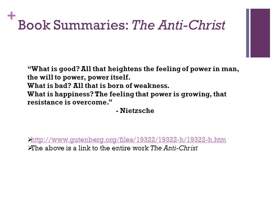 Book Summaries: The Anti-Christ