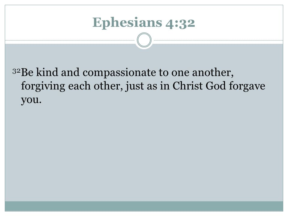 Ephesians 4:32 32Be kind and compassionate to one another, forgiving each other, just as in Christ God forgave you.