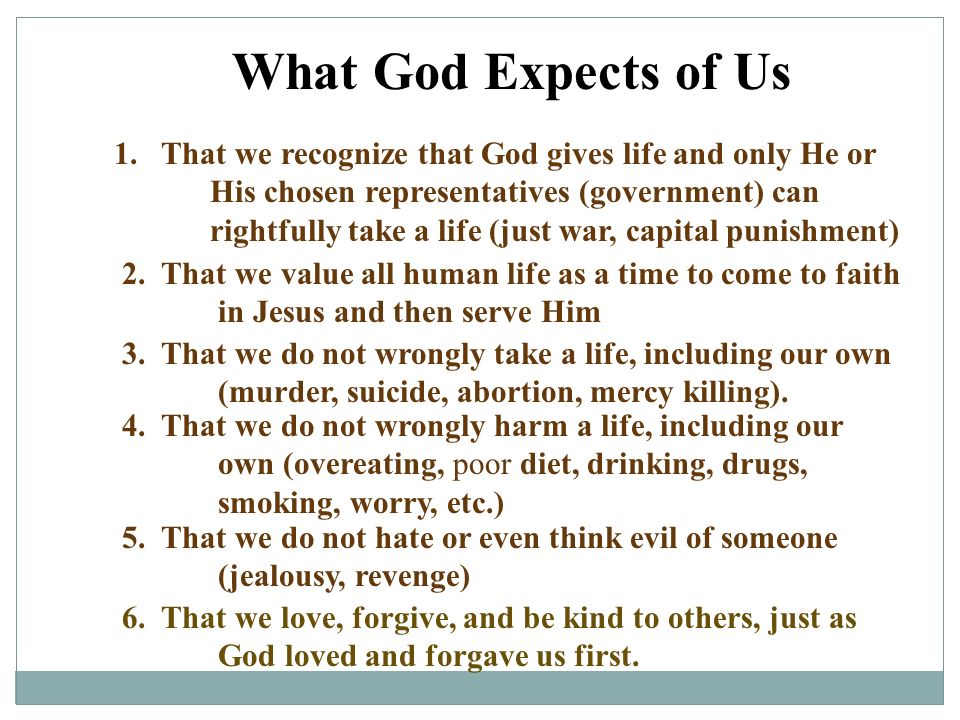 What God Expects of Us
