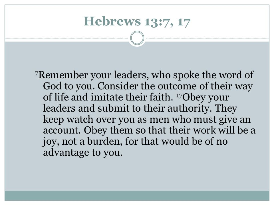Hebrews 13:7, 17