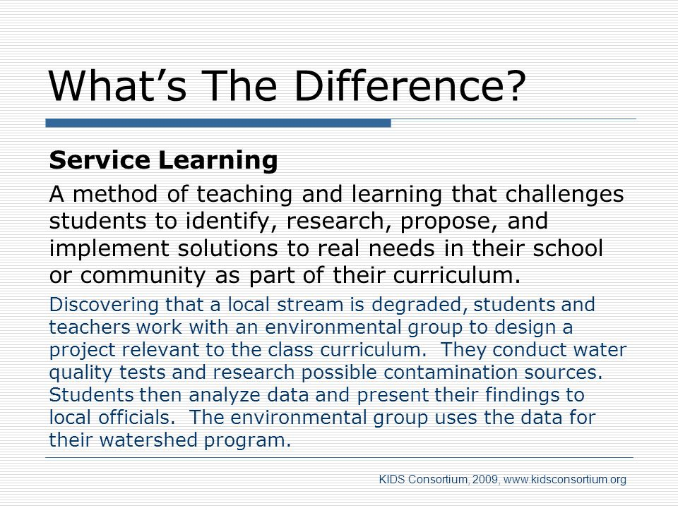 What's The Difference Service Learning