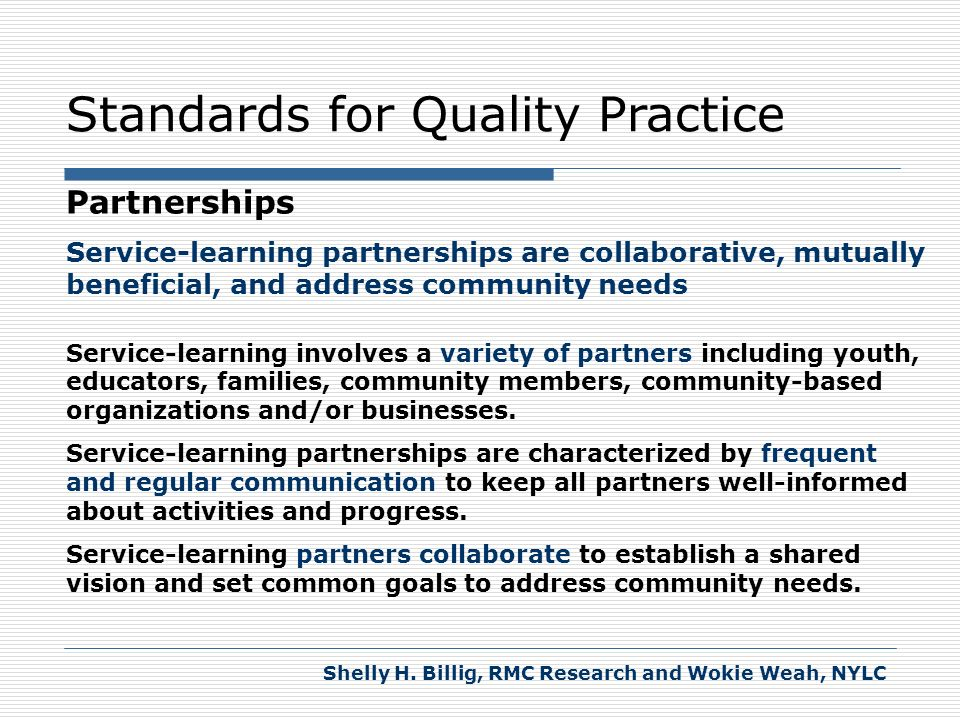 Standards for Quality Practice