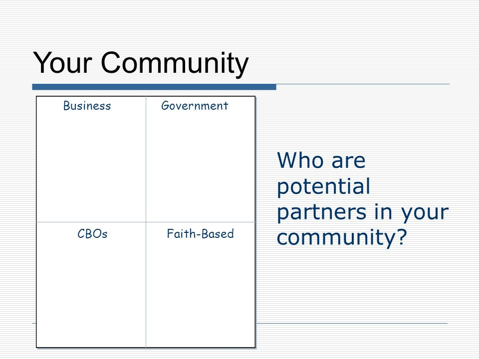 Your Community Who are potential partners in your community