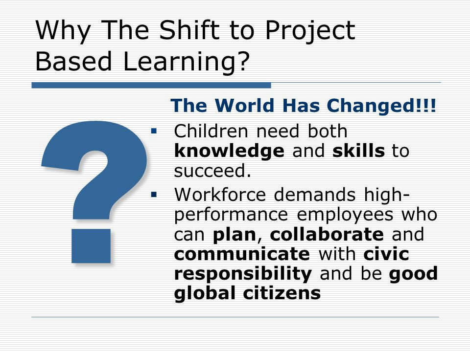 Why The Shift to Project Based Learning