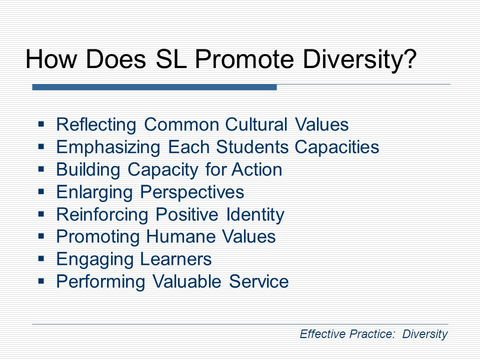 How Does SL Promote Diversity