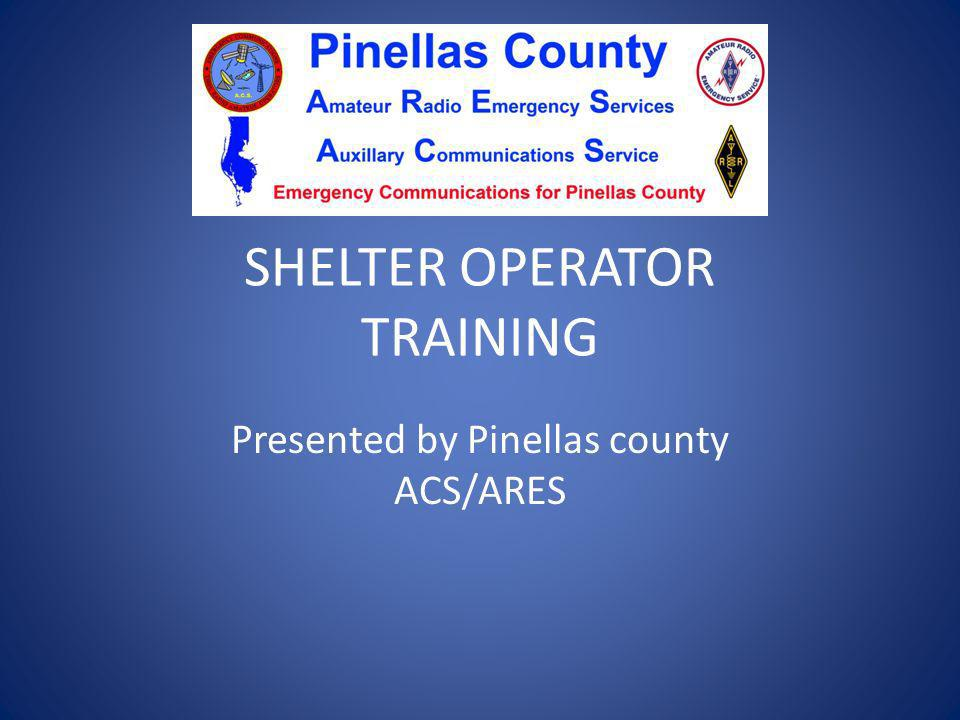 SHELTER OPERATOR TRAINING
