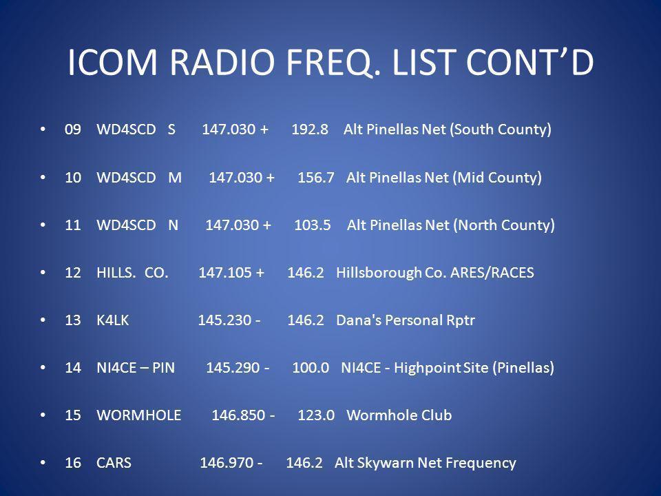 ICOM RADIO FREQ. LIST CONT'D
