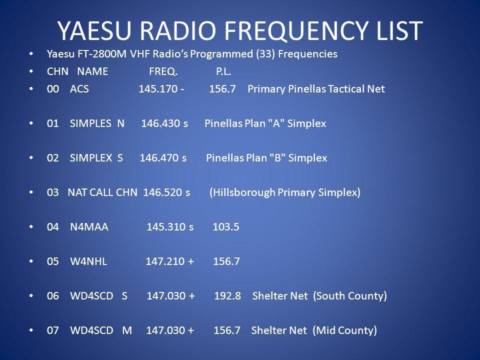 YAESU RADIO FREQUENCY LIST