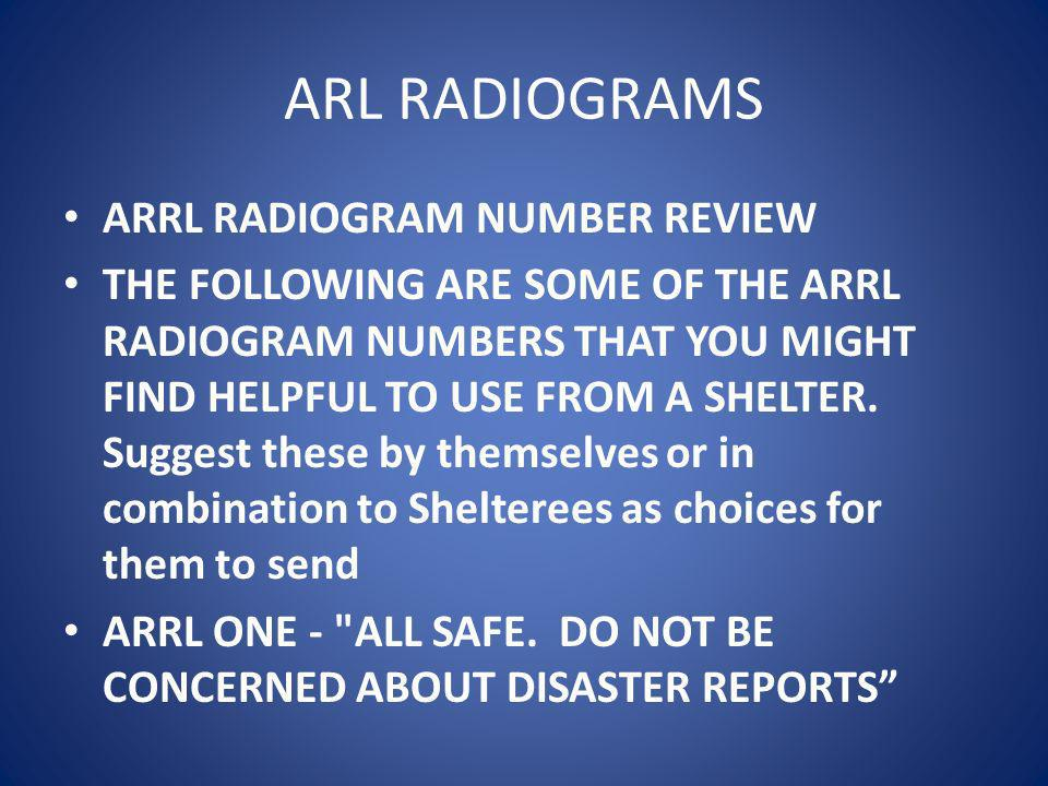 ARL RADIOGRAMS ARRL RADIOGRAM NUMBER REVIEW