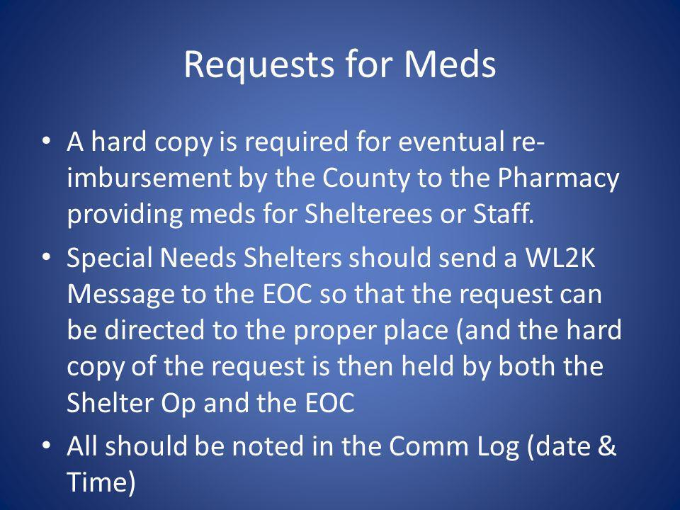 Requests for MedsA hard copy is required for eventual re-imbursement by the County to the Pharmacy providing meds for Shelterees or Staff.