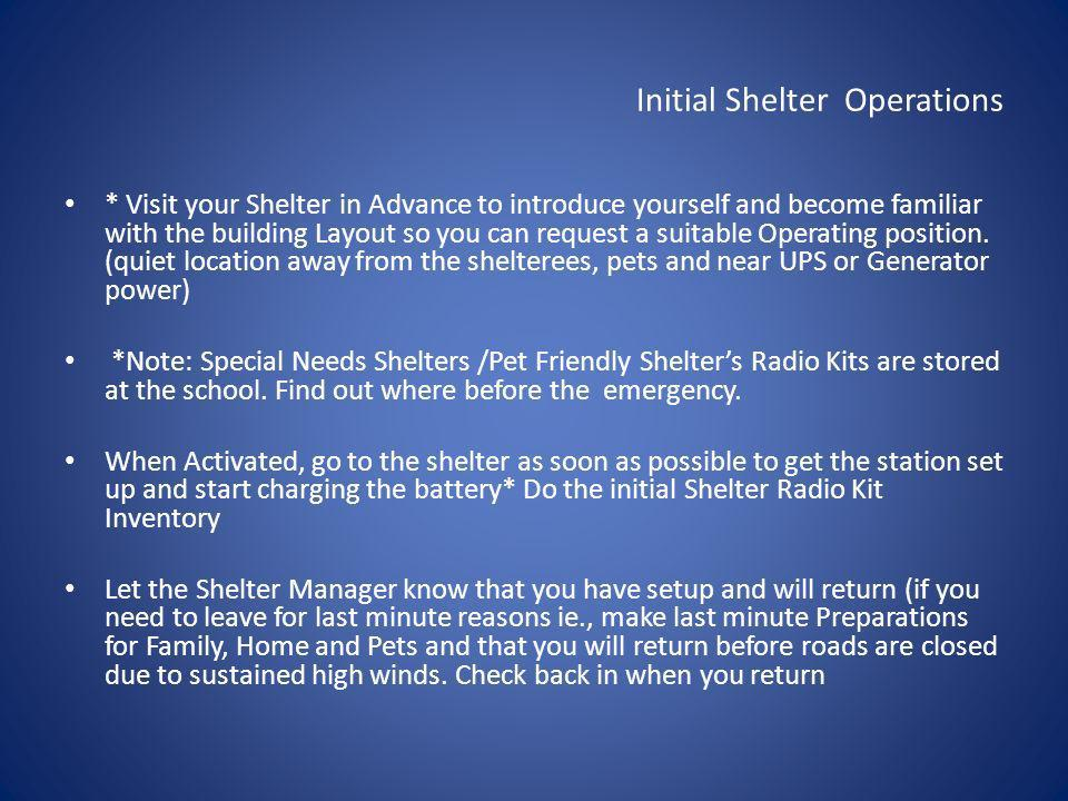 Initial Shelter Operations