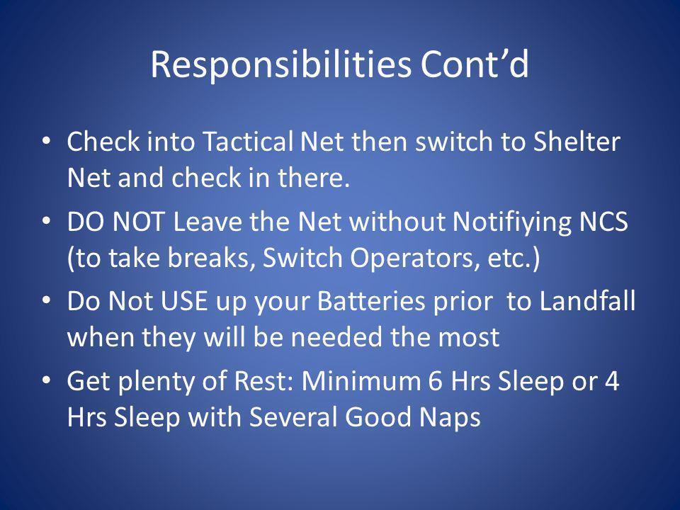 Responsibilities Cont'd