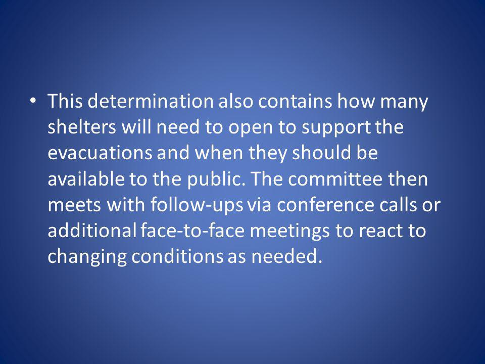 This determination also contains how many shelters will need to open to support the evacuations and when they should be available to the public.
