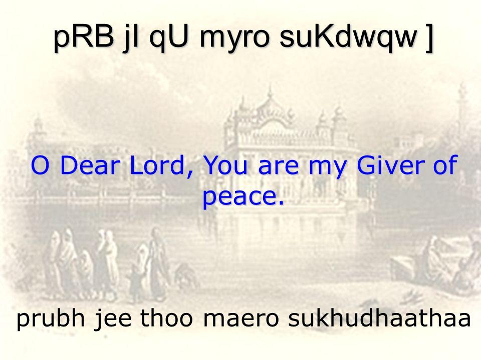 prubh jee thoo maero sukhudhaathaa