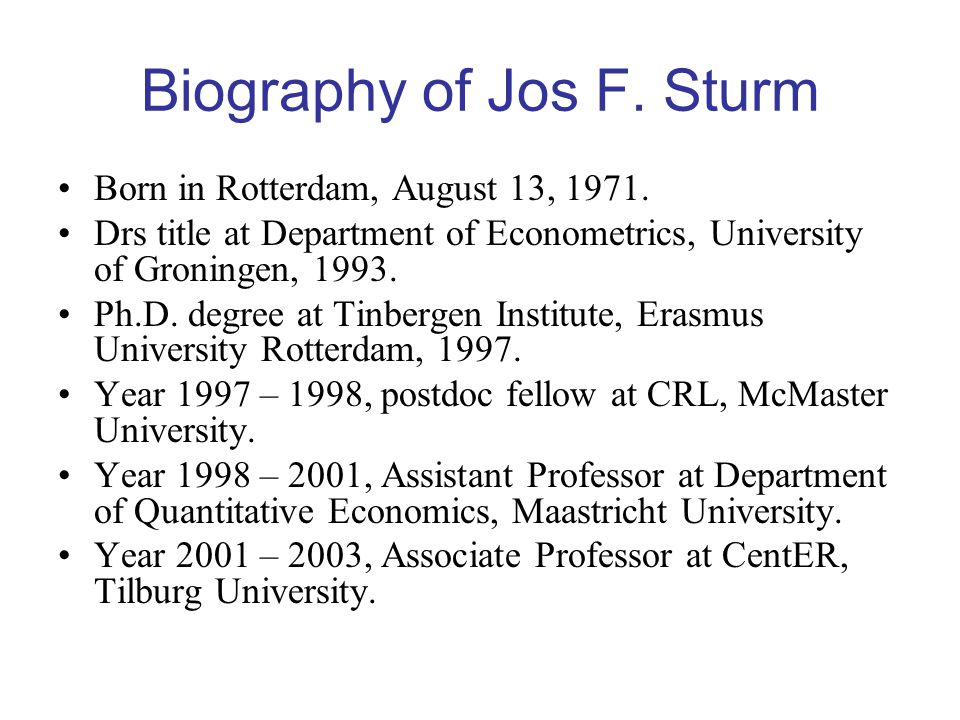 Biography of Jos F. Sturm