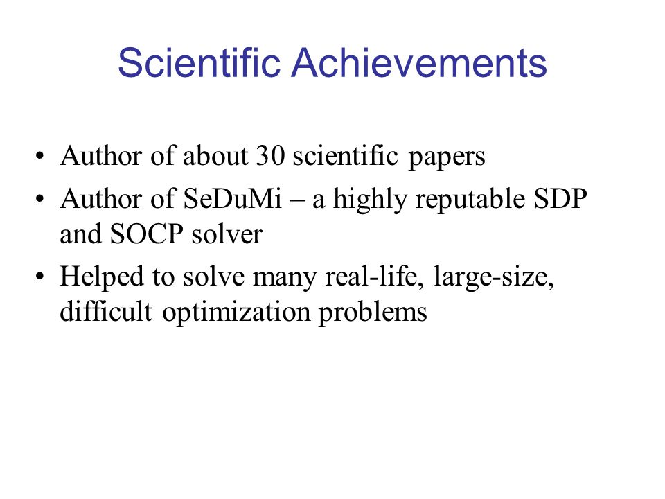 Scientific Achievements