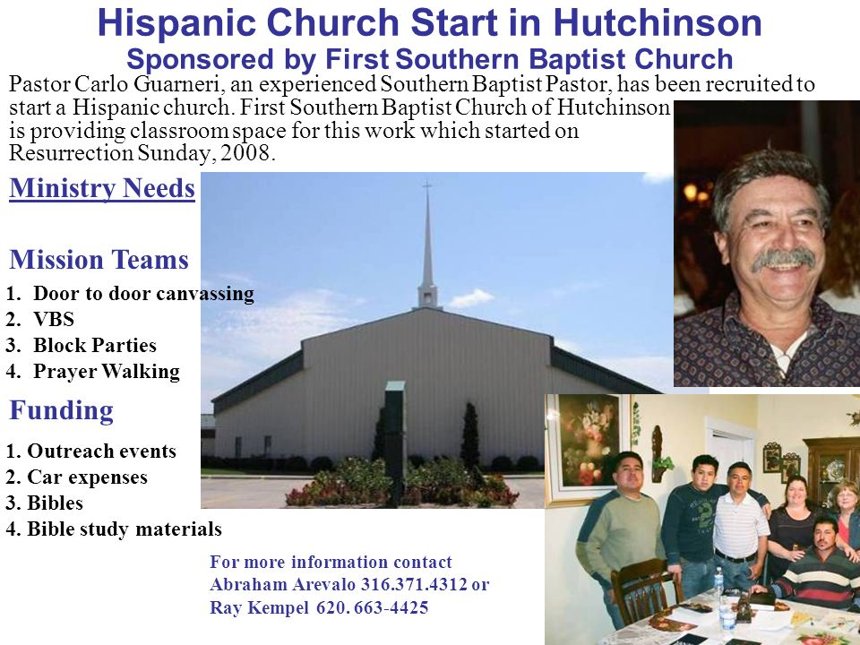 Hispanic Church Start in Hutchinson Sponsored by First Southern Baptist Church
