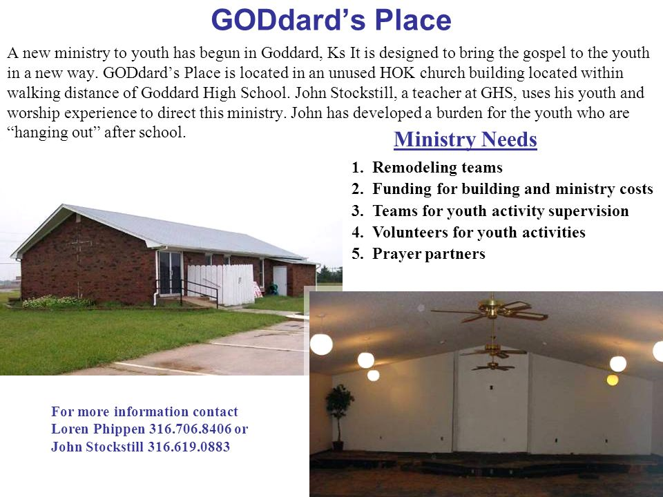 GODdard's Place Ministry Needs
