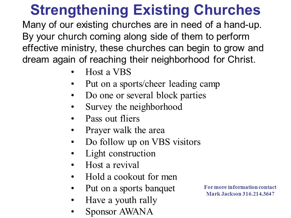 Strengthening Existing Churches