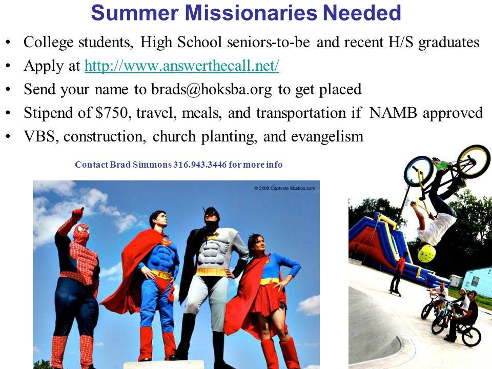 Summer Missionaries Needed