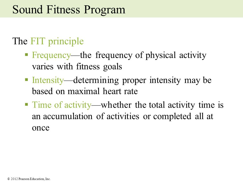 Sound Fitness Program The FIT principle