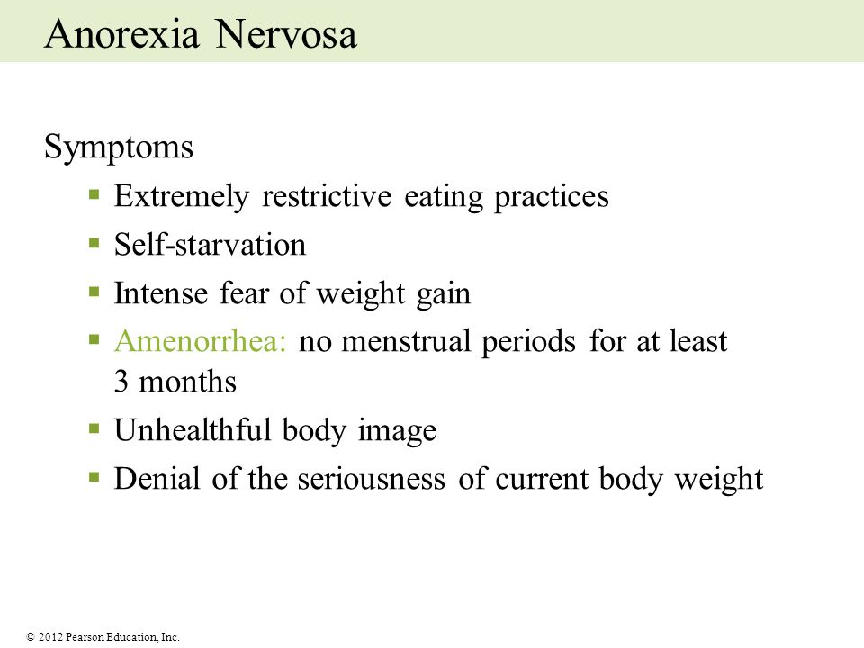 Anorexia Nervosa Symptoms Extremely restrictive eating practices