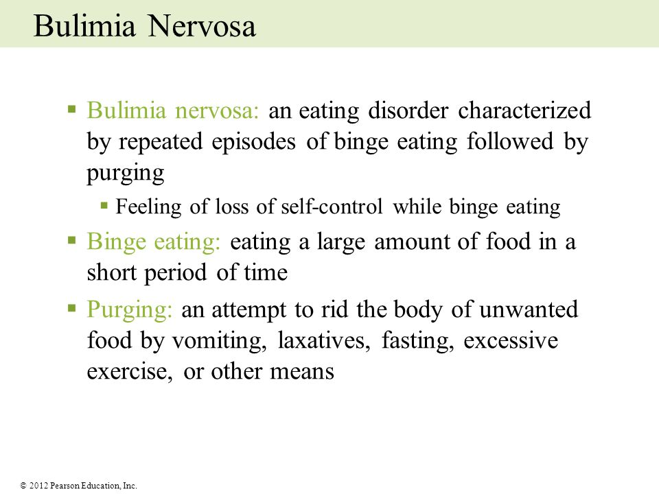 Bulimia Nervosa Bulimia nervosa: an eating disorder characterized by repeated episodes of binge eating followed by purging.