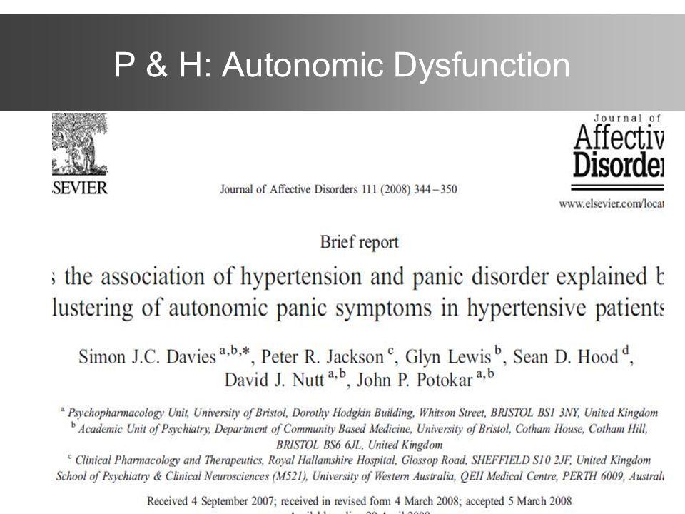 P & H: Autonomic Dysfunction