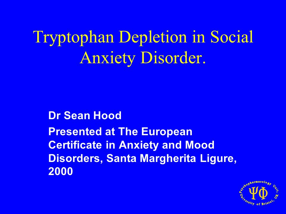 Tryptophan Depletion in Social Anxiety Disorder.