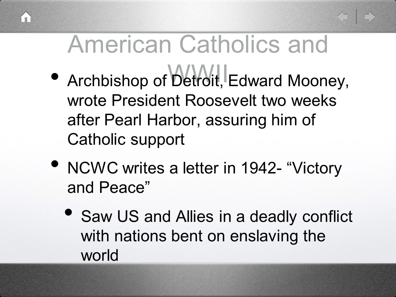 American Catholics and WWII