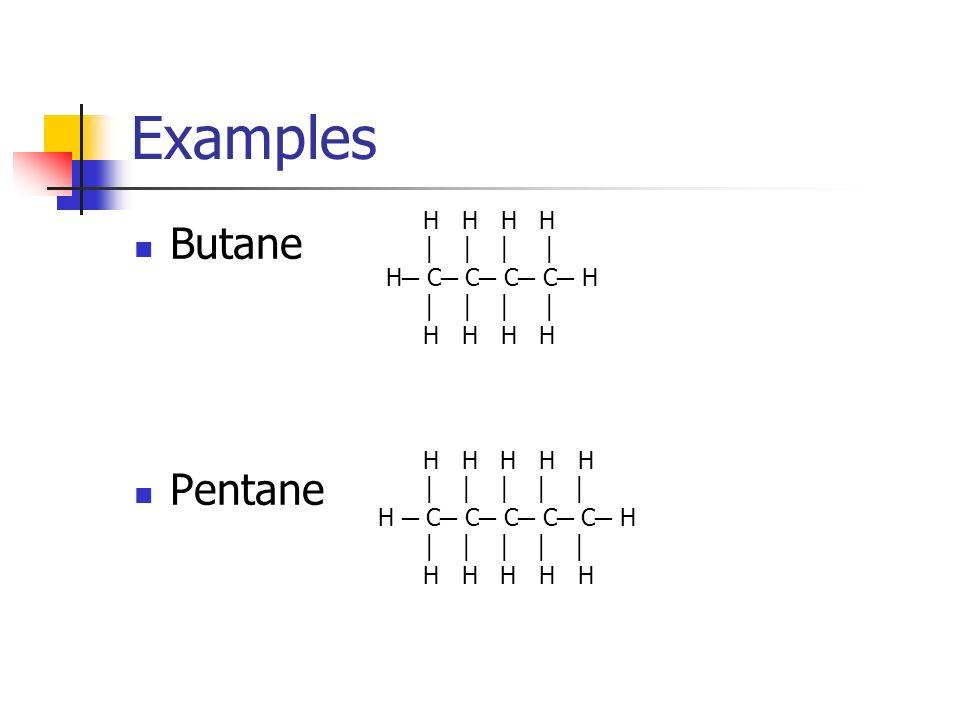 Examples Butane Pentane H H H H │ │ │ │ H─ C─ C─ C─ C─ H H H H H H