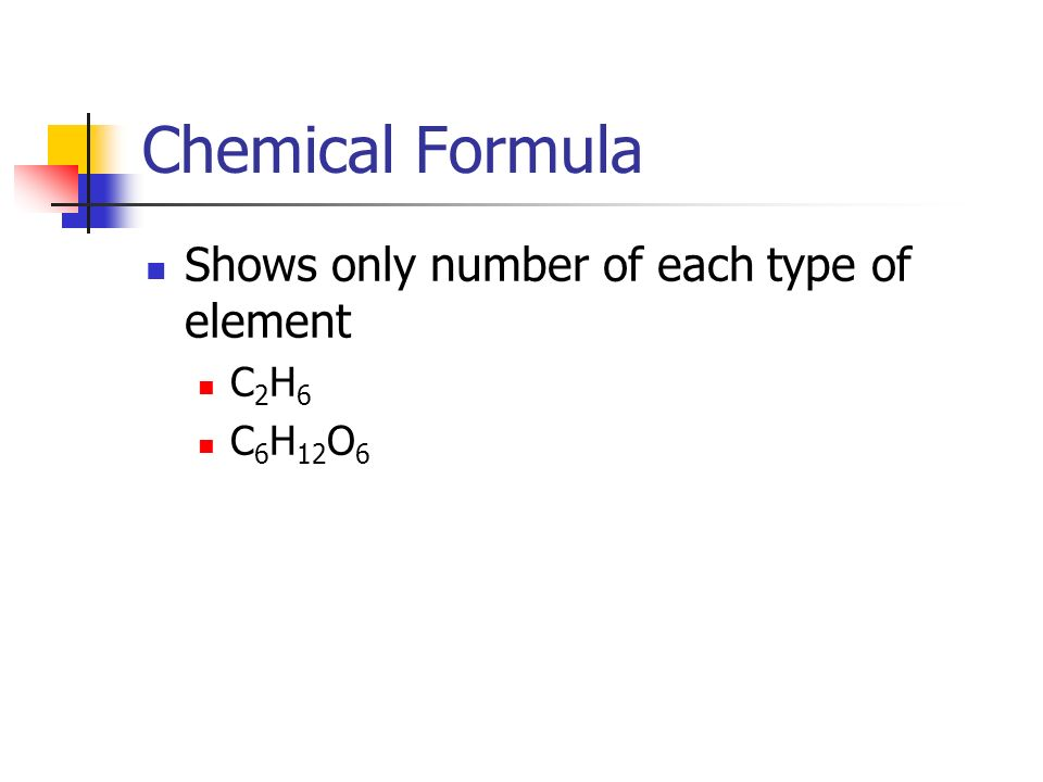 Chemical Formula Shows only number of each type of element C2H6