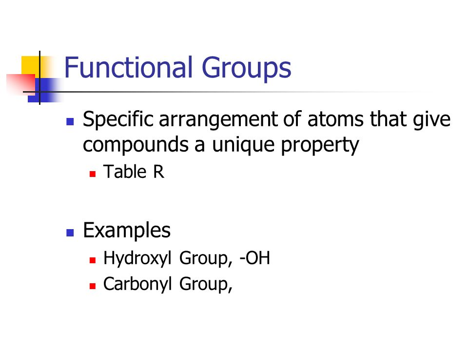 Functional Groups Specific arrangement of atoms that give compounds a unique property. Table R. Examples.