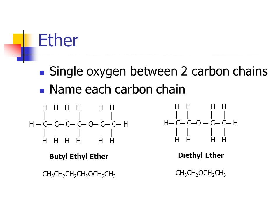 Ether Single oxygen between 2 carbon chains Name each carbon chain