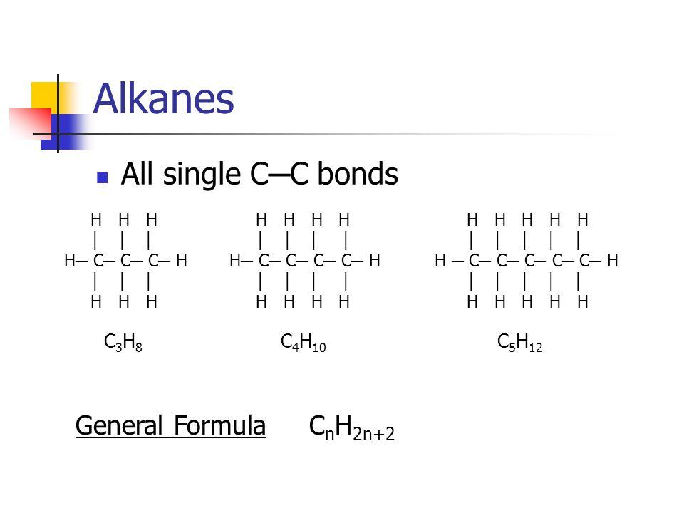 Alkanes All single C─C bonds General Formula CnH2n+2 C3H8 C4H10 C5H12