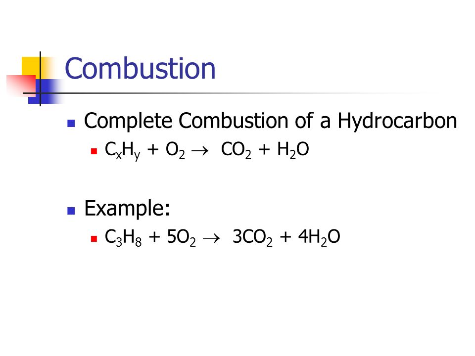 Combustion Complete Combustion of a Hydrocarbon Example:
