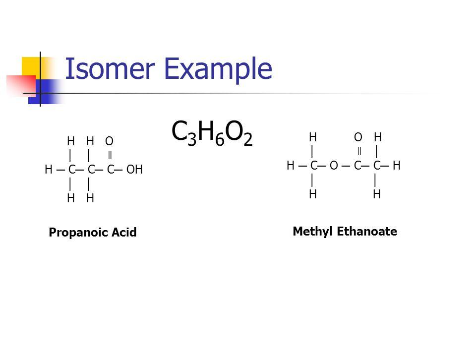 Isomer Example C3H6O2 H O H H H O │ ǁ │ │ │ ǁ H ─ C─ O ─ C─ C─ H