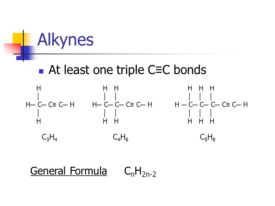 Alkynes At least one triple C≡C bonds General Formula CnH2n-2 C3H4
