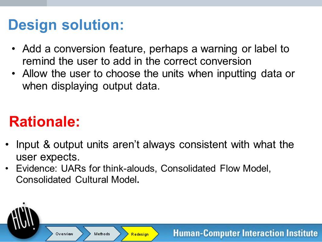 Design solution: Rationale: