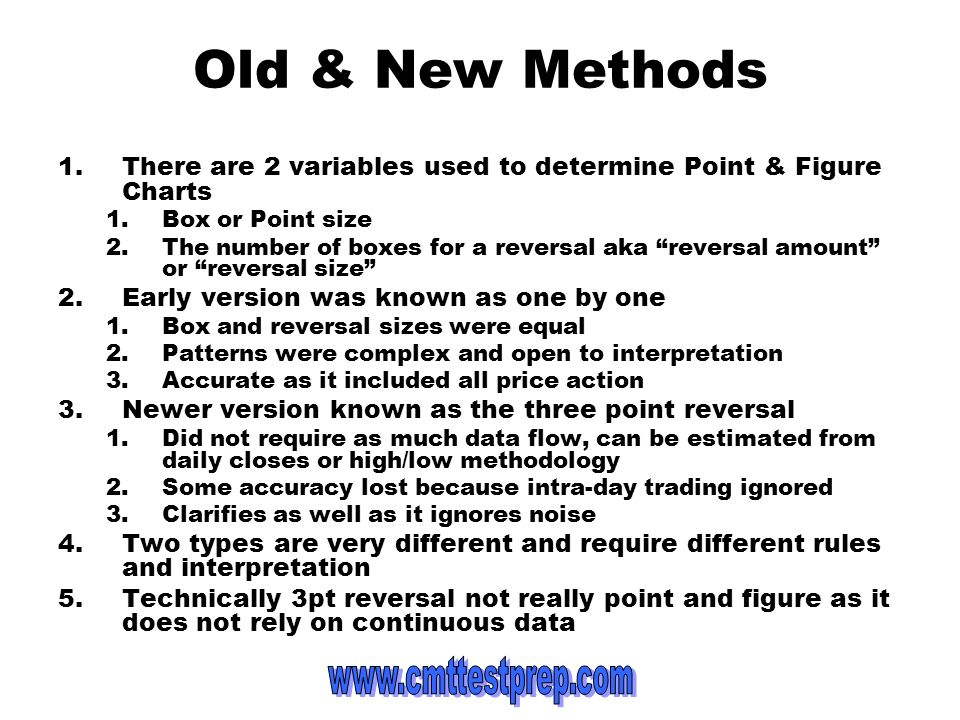 Old & New Methods There are 2 variables used to determine Point & Figure Charts. Box or Point size.