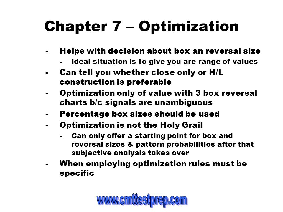 Chapter 7 – Optimization