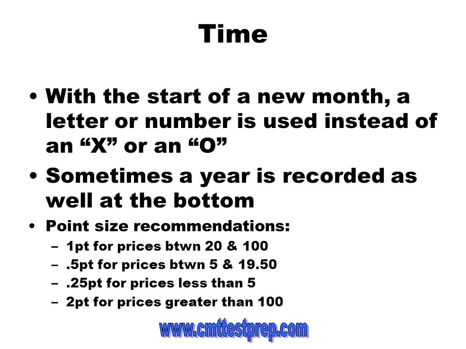 Time With the start of a new month, a letter or number is used instead of an X or an O Sometimes a year is recorded as well at the bottom.