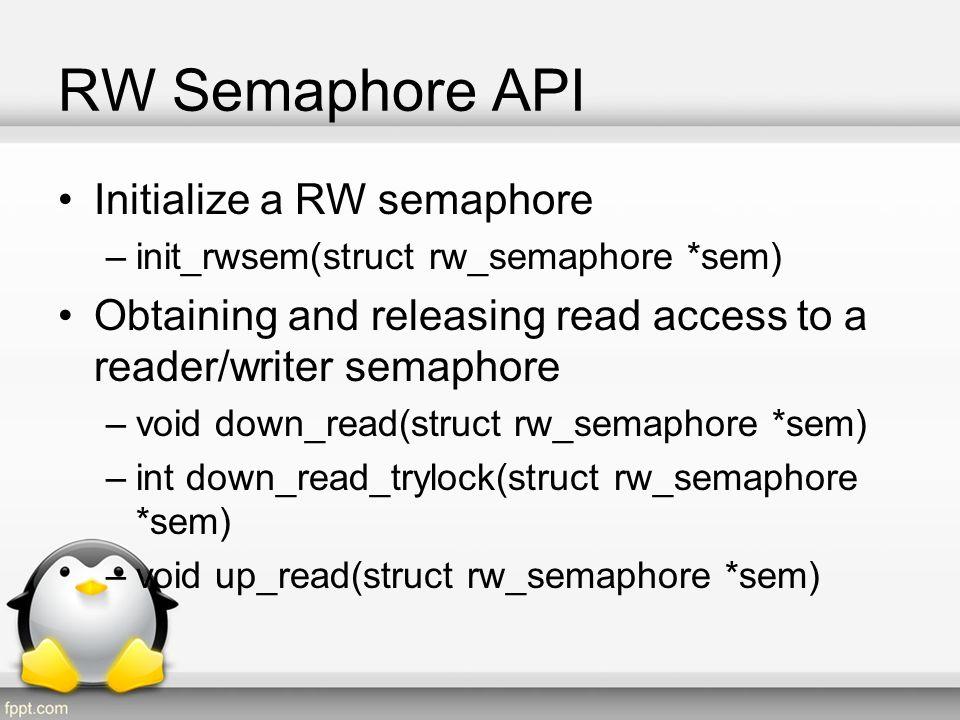 RW Semaphore API Initialize a RW semaphore