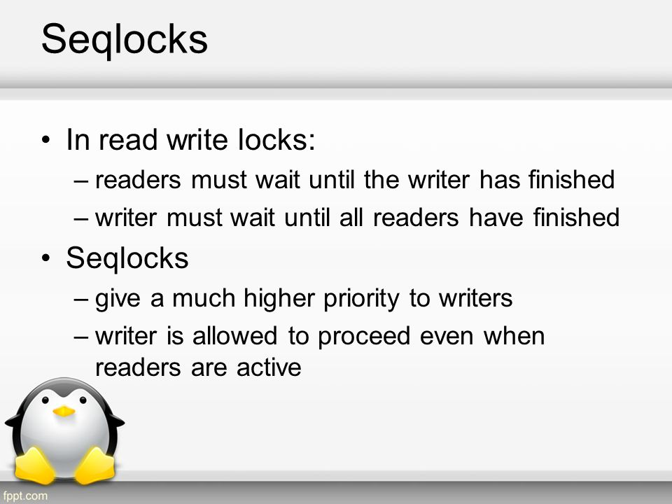 Seqlocks In read write locks: Seqlocks